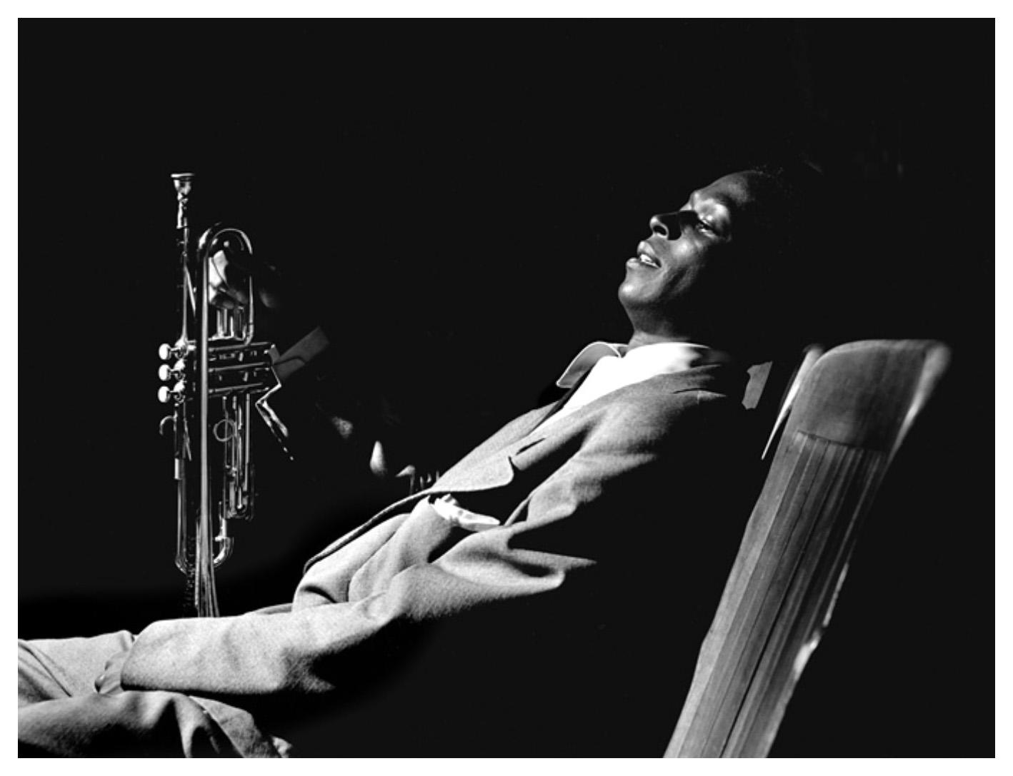 Miles Davis, backstage at 'Just Jazz' concert, Los Angeles, 1950